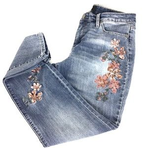 Nine West Floral Embroidered Gramercy Skinny Jeans